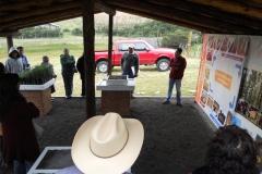 Lona educativa en relación al cultivo de oyamel como santuario para la mariposa monarca, indicando el proceso de producción.